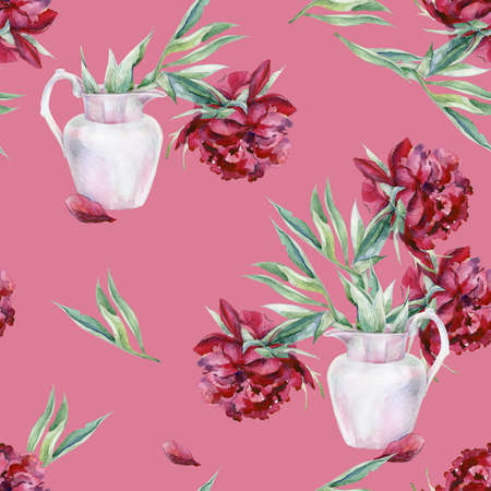Watercolor seamless pattern of pink peony flower in a vase. 스톡 콘텐츠