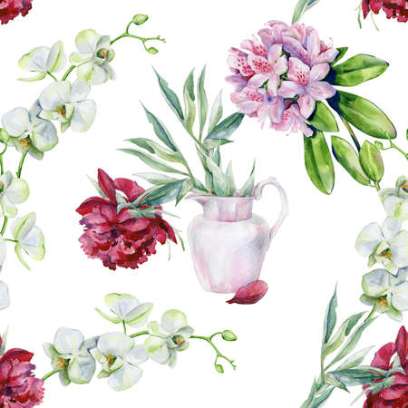 Watercolor seamless of pink peony flower in a vase. Interior artwork with pionies. Tropical rhododendron flowers watercolor. Interior wallpaper with pink azalea and white orchids. Exotic plants print