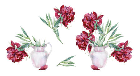 Watercolor set of pink peony flowers in a vase. Hand drawn floral illustration. Interior artwork with pionies. 스톡 콘텐츠