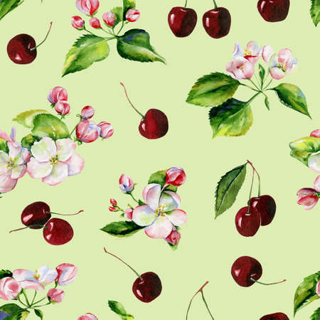 A blooming branch of apple tree in spring watercolor. Hand drawn apple tree branches and cherry seamless pattern. Perfect for wallpaper, fabric design, textile design, cover, surface textures.