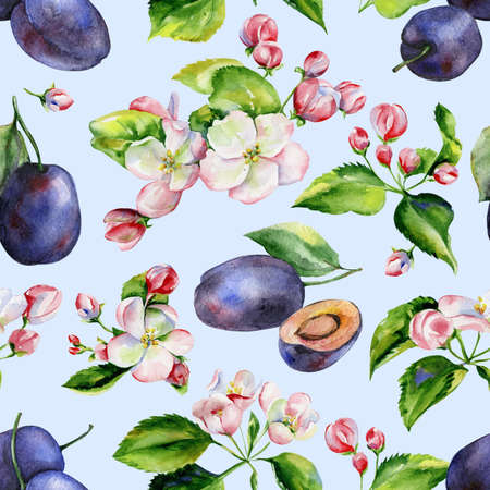A blooming branch of apple tree in spring watercolor. Hand drawn apple tree branches and plums seamless pattern. Perfect for wallpaper, fabric design, textile design, cover, surface textures. 스톡 콘텐츠