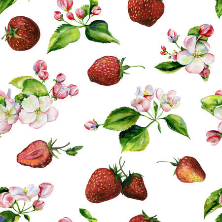 A blooming branch of apple tree in spring watercolor. Hand drawn apple branches and strawberry seamless pattern. Perfect for wallpaper, fabric design, textile design, cover, surface textures. 스톡 콘텐츠