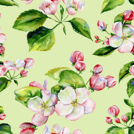A blooming branch of apple tree in spring watercolor. Hand drawn apple seamless pattern. Perfect for wallpaper, fabric design, textile design, cover, surface textures.