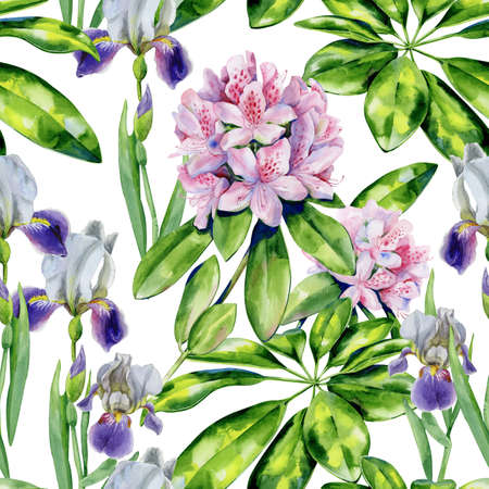 Tropical rhododendron flowers and iris seamless pattern watercolor. Interior wallpaper with pink azalea. Exotic plants print. 스톡 콘텐츠
