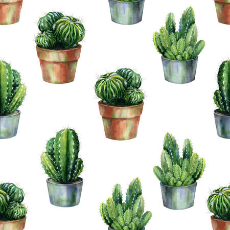 Cacti seamless pattern watercolor. Cactus in blossom illustration. Use as print, home or garden decoration, wrapping paper, textile or wallpaper.