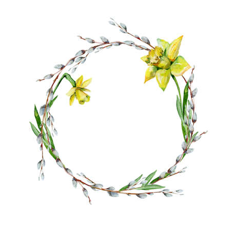 Hand-drawn watercolor drawing of wreath for Easter holiday with pussy-willow bohemian style design, isolated spring season illustration on white with daffodils.