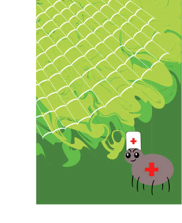 Spider-doctor with a web against foliage Stock Vector - 12841986