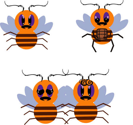 Bees in steam and with honey Stock Vector - 12841980