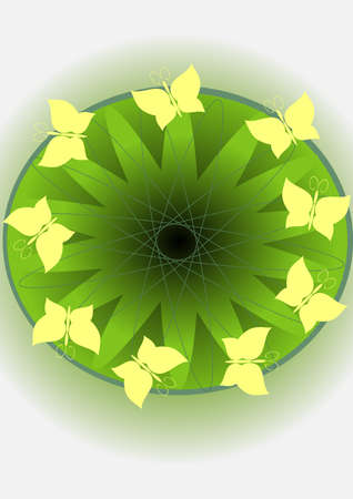 Yellow butterflies on a green circle of an eye
