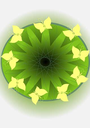 Yellow butterflies on a green circle of an eye