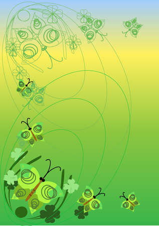 butterfly on a green background Illustration