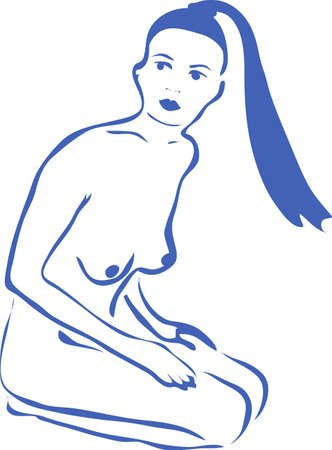 the nude woman with long hair