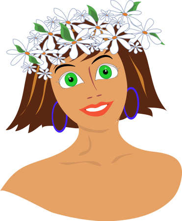 the girl with a wreath from flowers on the head
