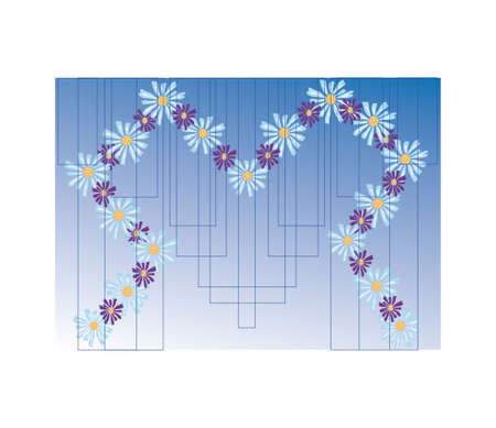 daisies on a background of geometric shapes