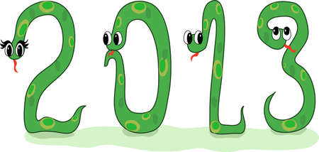 Four crazy snakes designed as symbols of 2013 New Year Illustration