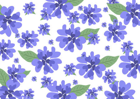 floral print with blue flowers and petals of hearts