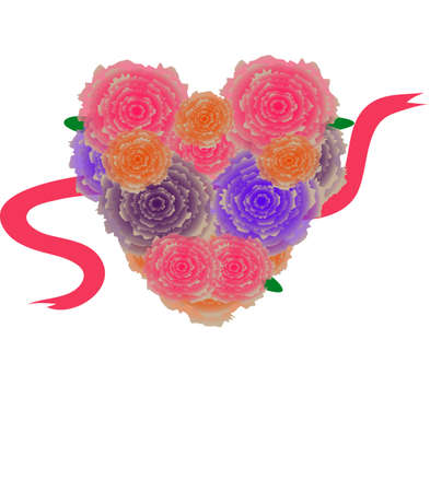 heart of beautiful flowers with a red ribbon