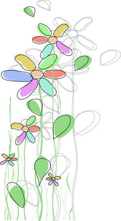 flowers are drawn with a children s hand