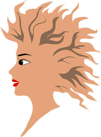 the head of the girl with a flying hair