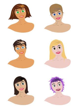 couleur de peau: filles avec diff�rents hairdresses et la couleur de peau diff�rente