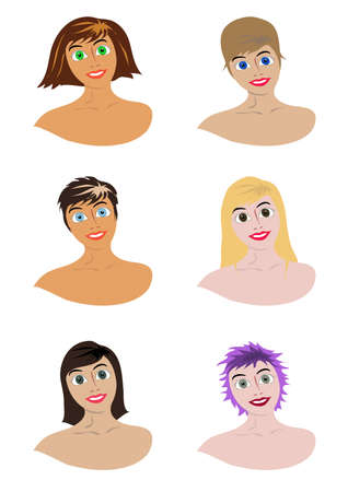 girls with different hairdresses and different skin color Stock Vector - 17444162