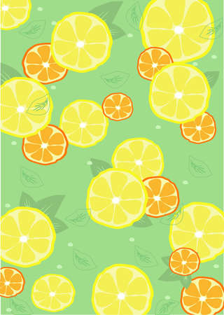 background from lemons and oranges with leaves Stock Vector - 17550269