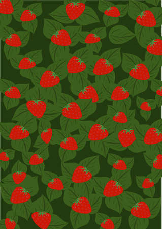 background from red strawberry and green leaves