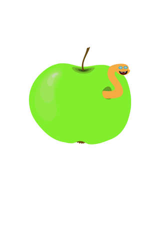 green apple with a cheerful worm