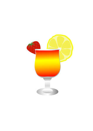cocktail with strawberry and a lemon in a wine glass  Illustration