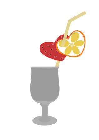 glass with drink and with strawberry and a lemon Illustration