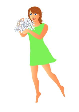 the girl with a bunch of flowers Illustration