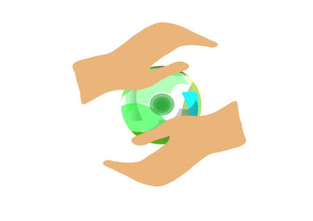 hands hold a symbolical sphere from color parts Illustration
