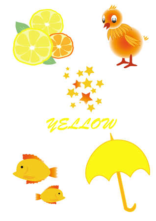 objects of yellow color live and lifeless Illustration