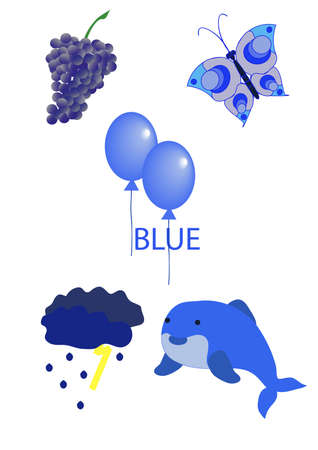 objects of blue color live and lifeless Illustration