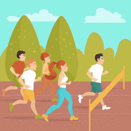 trot: People run a marathon. Sports jogging. Finish.