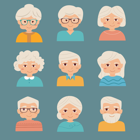 old people: Old people set. Vector isolated illustration. Cartoon character. Flat style