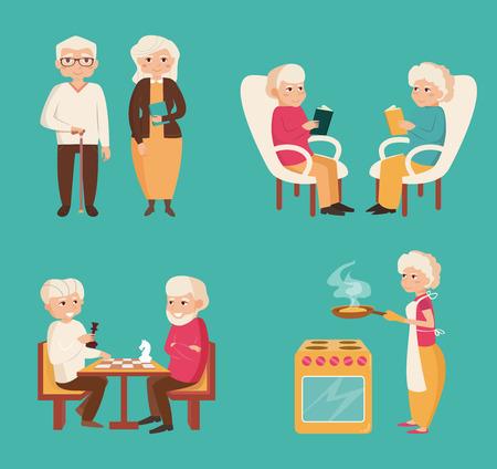 Set mit älteren Menschen. Schachspielen, Lesen, Kochen. Ältere Paare. Vektor-Illustration im flachen Stil.