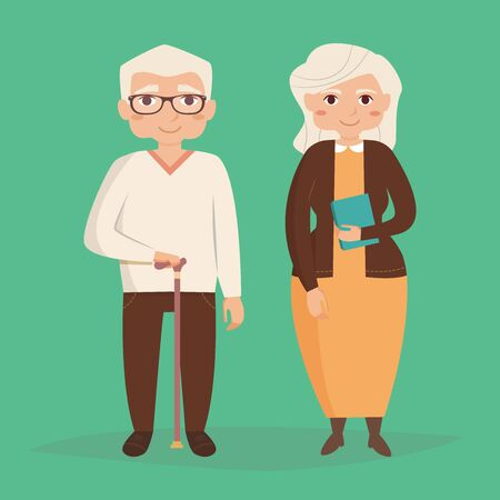 old couple walking: Old couple. Vector illustration in flat style. Image for booklets, brochures, flyers, websites. Cartoon character. Man and woman