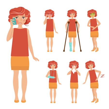 spasm: Set with sick people. Cartoon character. Flat syle