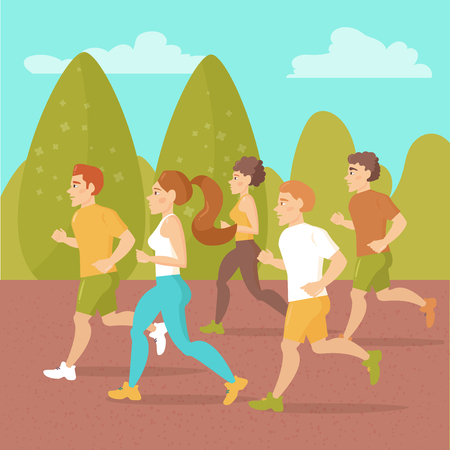 jogging in park: People running around in the park. Sports jogging. Vector isolated illustration. Cartoon character