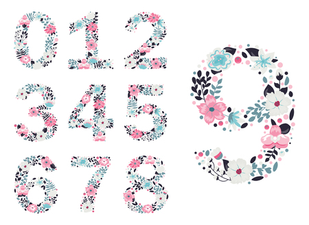 Floral numbers. Vector isolated illustration on white background