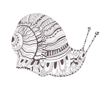 ornated: Zentangle style. Hand drawn vector isolated illustration on white background. Henna mehendi, tattoo sketch. Snail