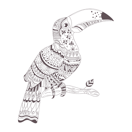ornated: Zentangle style. Hand drawn vector isolated illustration on white background. Henna mehendi, tattoo sketch. Toucan
