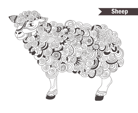 Sheep. coloring book for adult, antistress coloring pages. Hand drawn vector isolated illustration on white background. Henna mehendi, tattoo sketch.