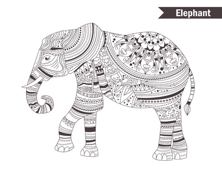 equine: Elephant. coloring book for adult, antistress coloring pages. Hand drawn vector isolated illustration on white background. Henna mehendi, tattoo sketch. Illustration