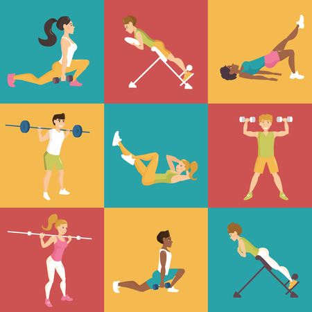 simulators: Set with people involved in sports. Simulators. Dumbbells, barbell, hyperextension. Vector isolated illustration. Cartoon characters Illustration