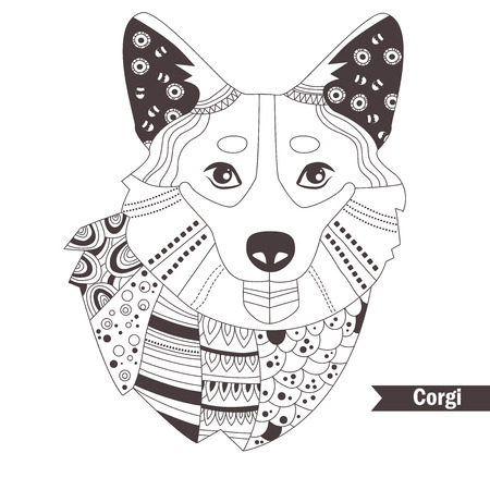 pembroke: Corgi. Coloring book for adult, antistress coloring pages. Hand drawn vector isolated illustration on white background. Henna mehendi, tattoo sketch Illustration