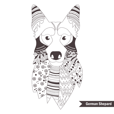 bstract: German shepherd. Coloring book for adult, antistress coloring pages. Hand drawn vector isolated illustration on white background. Henna mehendi, tattoo sketch