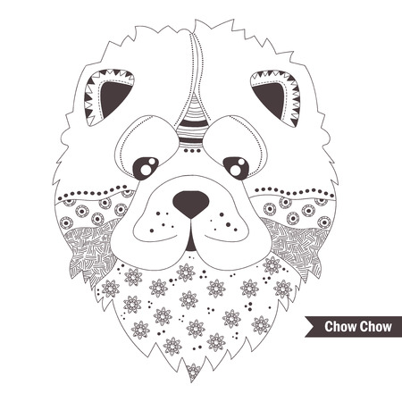 chow: Chow chow dog. Coloring book for adult, antistress coloring pages. Hand drawn vector isolated illustration on white background. Henna mehendi, tattoo sketch
