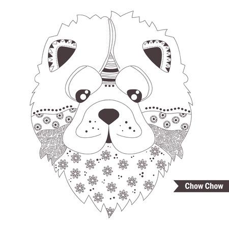 Kleurplaten Voor Volwassenen Honden.Chow Chow Hond Kleurboek Voor Volwassenen Antistress Kleurplaten Hand Getrokken Vector Geisoleerde Illustratie Op Witte Achtergrond Henna Mehendi